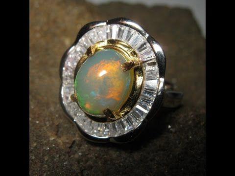 Cincin Wanita Model Bunga Batu Opal Afrika Silver 925 Ring 6.5US