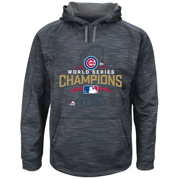 Men's Chicago Cubs Majestic Charcoal 2016 World Series Champions Locker Room Streak Fleece Pullover Hoodie
