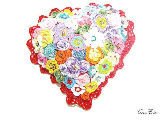 Crochet small pillow with flowers Heart pillow by CreArtebyPatty