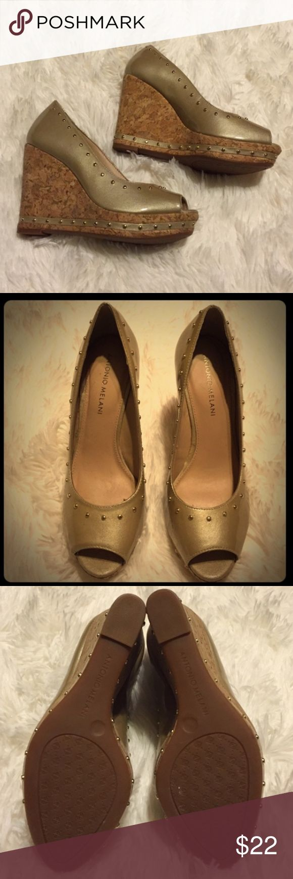 Antonio Melani Gold Platform Wedge Shoes Beautiful  Soft and Comfy Gold Antonio Melani Platform Wedge Shoes ANTONIO MELANI Shoes Wedges