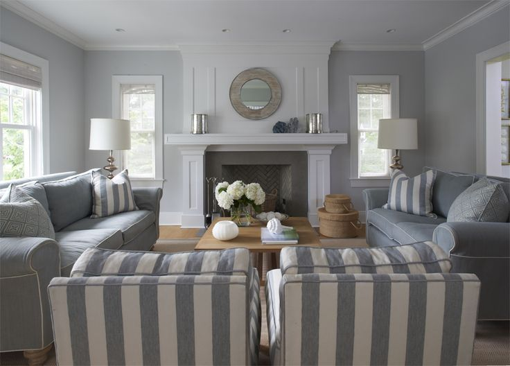 GRAY STRIPES IN A SEASIDE COTTAGE Gray Living RoomsLiving SpacesLiving Room DesignsLiving IdeasBlue