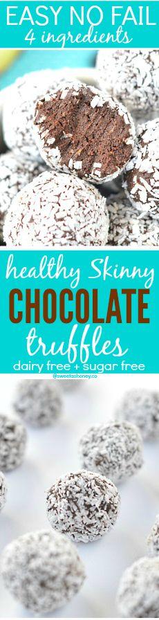 Chocolate Truffles with Avocado | Healthy truffles:http://www.sweetashoney.co/chocolate-truffles-avocado-healthy-dessert/