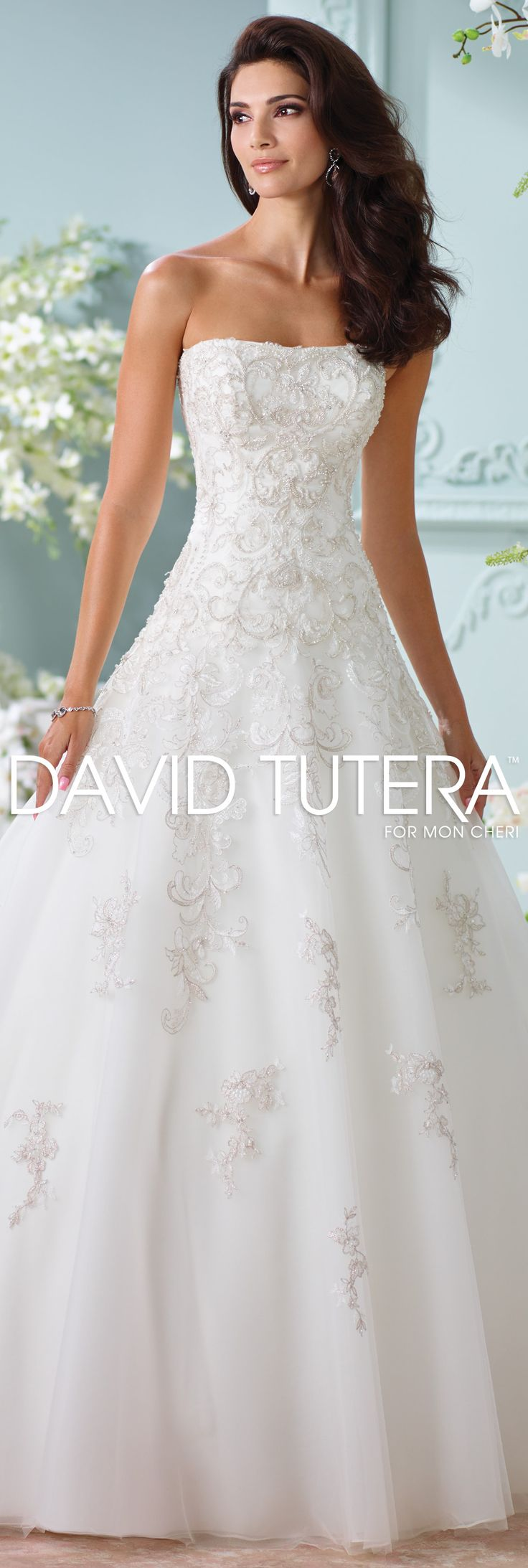 The David Tutera for Mon Cheri Spring 2016 Wedding Gown Collection - Style No. 116216 Sunniva #laceweddingdresses