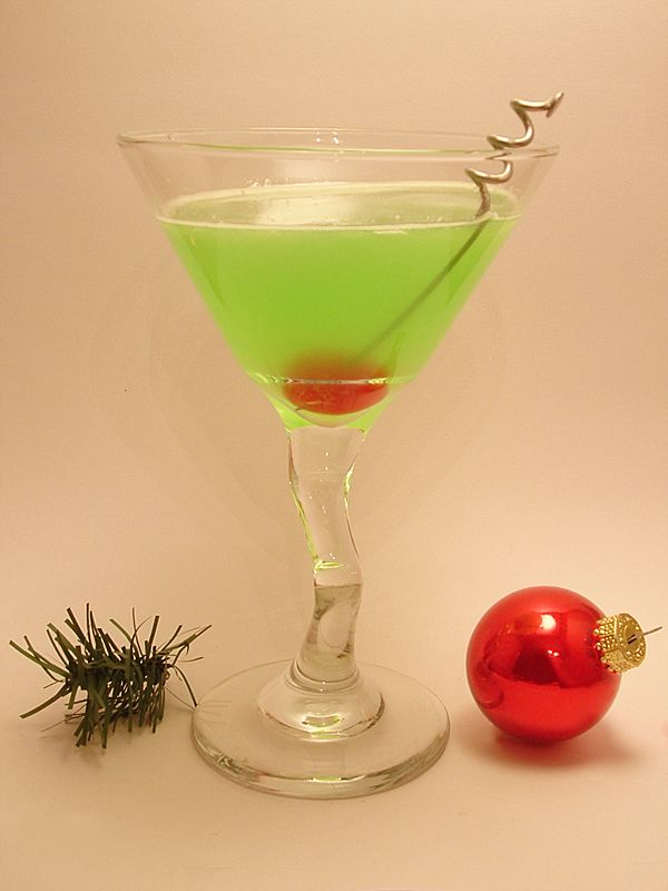 Grinch Martini 1 Glass 2 Oz Midori Melon Liqueur 1 Oz