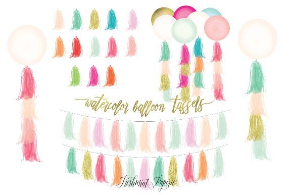 watercolor tassels clipart - balloon by freshmint paperie on @creativemarket