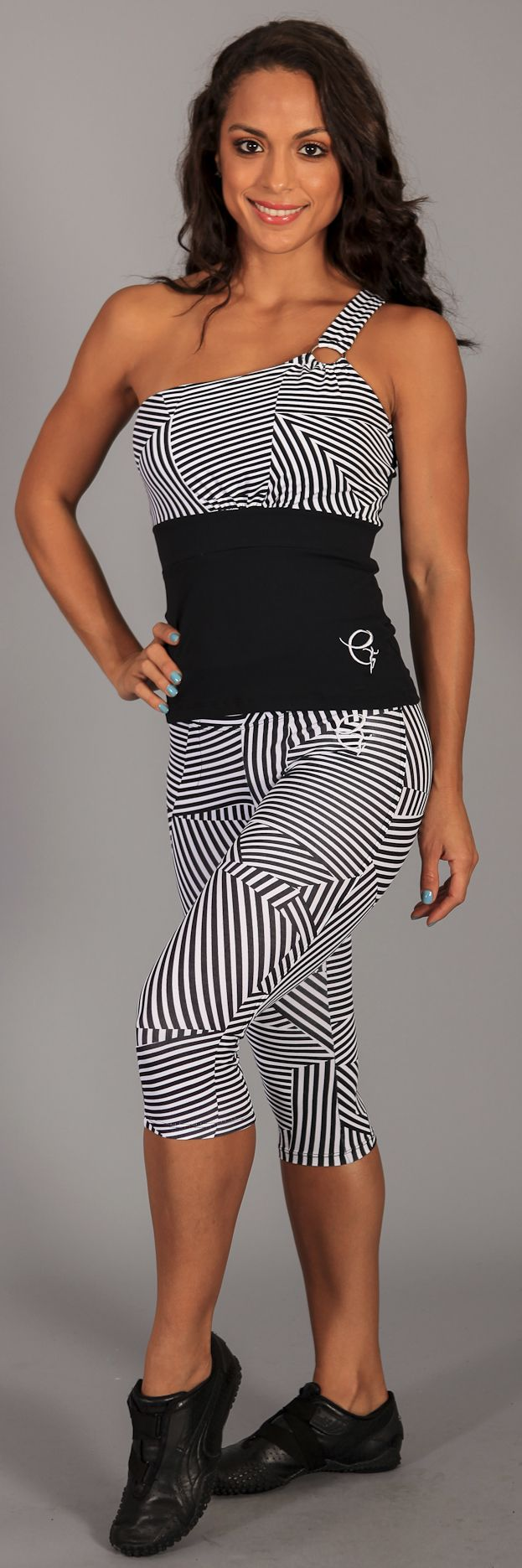 STRIPES! equilibrium activewear flagship capris C337 and super cute one shoulder top LT1004 in Black Stripes, get them now at www.equilibriumactivewear.com #fitness #health #gym #fashion #style