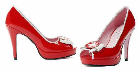 Leg Avenue 420 Natalie Red patent peep-toe shoes with court design, white piping on edges, matching red 4 inch (10 cm) high heels and 1 inch (2.5 cm) front platform with red patent overlay for an uniform look. The design is http://www.MightGet.com/january-2017-12/leg-avenue-420-natalie.asp