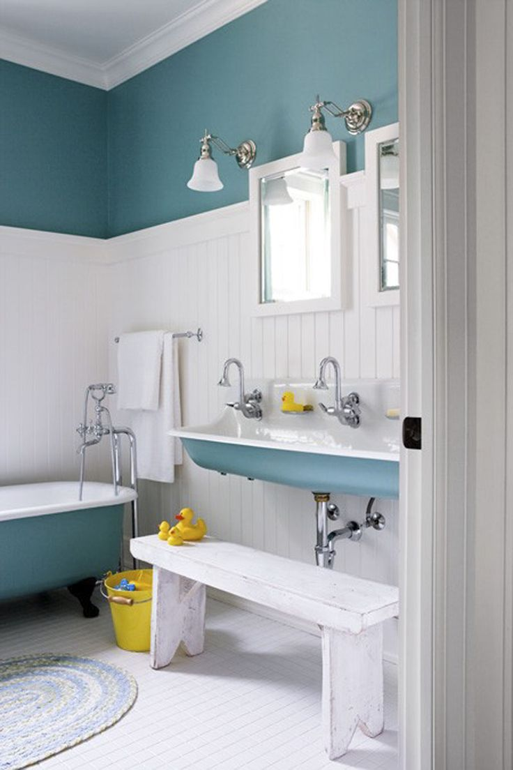 Simple Kids Bathroom Design with White and Blue Free Standing also White and Blue Modern Bathtub with Mirror and White Chic Pendant Lamp also White Wooden Chair