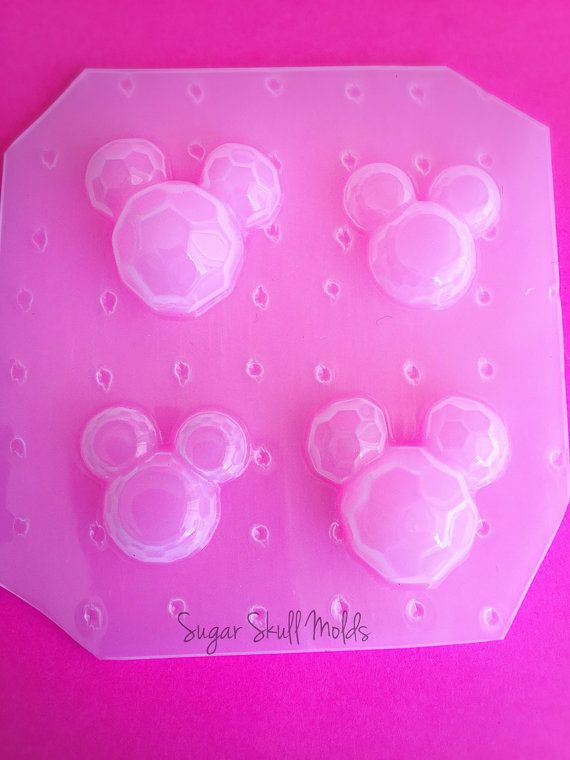 Jewel Mickey Head Cabochon Faceted Gem Flexible Plastic Mold