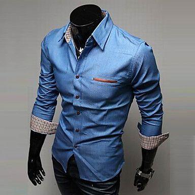 larga camisas de mezclilla manga alta calidad pantalones vaqueros del bolsillo de cuero lavado con agua de la moda camisa de los hombres - USD $ 13.99