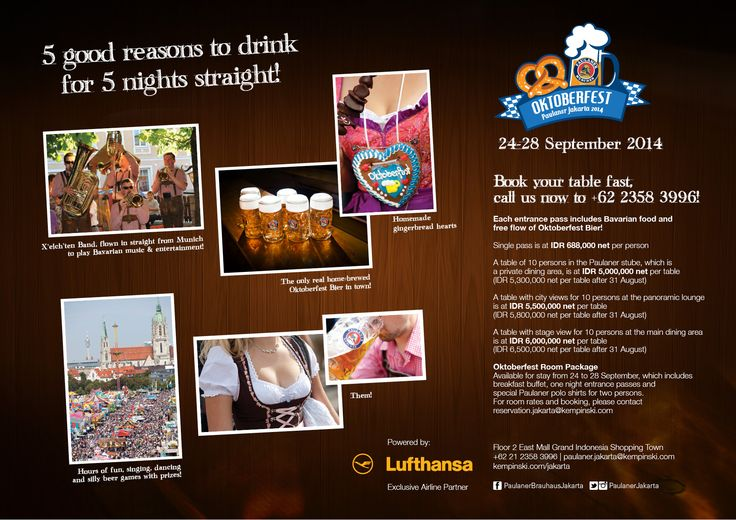 Oktoberfest is coming to Paulaner Brauhaus!  Reservations at paulaner.jakarta@kempinski.com