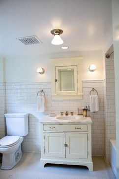 Queen Anne Basement bathroom with white ceramic subway tile: Found at https://www.subwaytileoutlet.com/