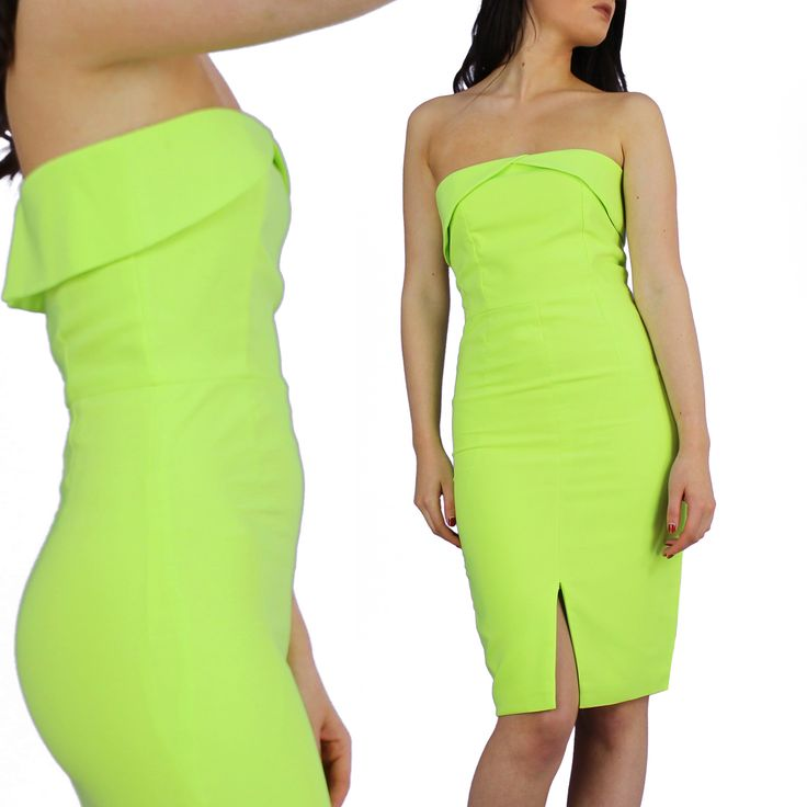 Womens Lavish Alice Bodycon Bandeau Strapless Dress In Lime Green ...