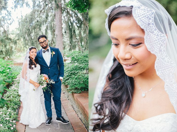 FEAST at Round Hill Wedding Portraits // Outdoor wedding portraits on the venue grounds  // Bride and groom emotional connective portraits // Bridal portrait with mantilla veil