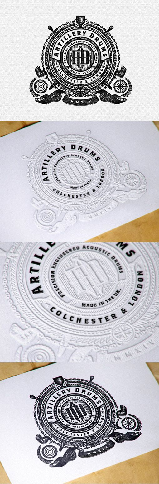 Intricate Hand Drawn Vintage Styling On A Business Card For A Drum Maker