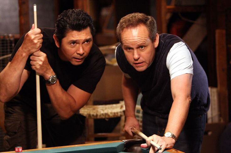 Numb3rs: Ian Edgerton (Lou Diamond Phillips) and Larry Fleinhardt (Peter MacNicol) in High Exposure. (One of the few episodes where we see Ian relax!)