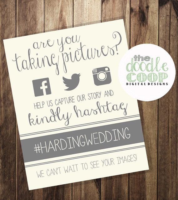Hashtag Print Wedding Instagram Facebook Twitter by TheDoodleCoop