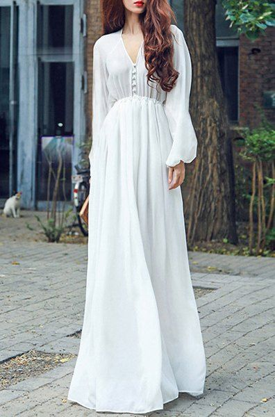 Solid Color Refreshing V-Neck Long Sleeve Chiffon Maxi Dress For Women