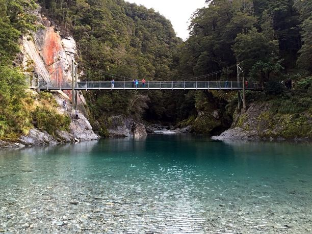 Blue Pools Walk, Mt Aspiring National Park, New Zealand — by Chrystal Hutchinson. Probably THE most crystal clear turquoise water I've ever seen! The Blue Pools are a great 30 minute return walk from...