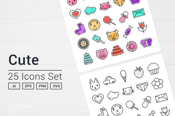 Cute Things Icons Set by Krukowski Graphics on @creativemarket