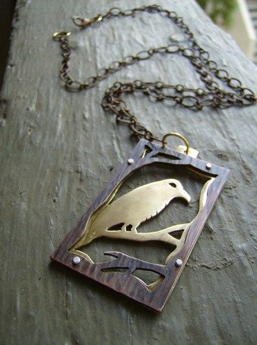 277 best sawing and piercing jewelery images on pinterest square raven copper and brass riveted necklace audiocablefo