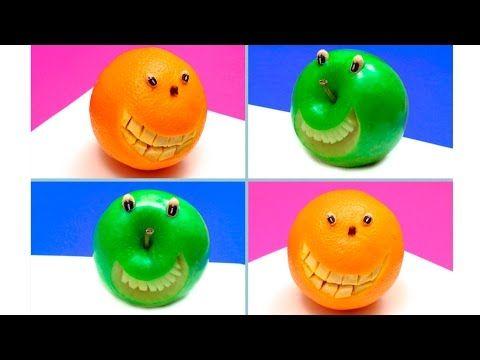 1 sculpture de fruit et légume: L'Orange Souriante et la Pomme qui Rit / How to Make Orange and Apple Smiley Faces