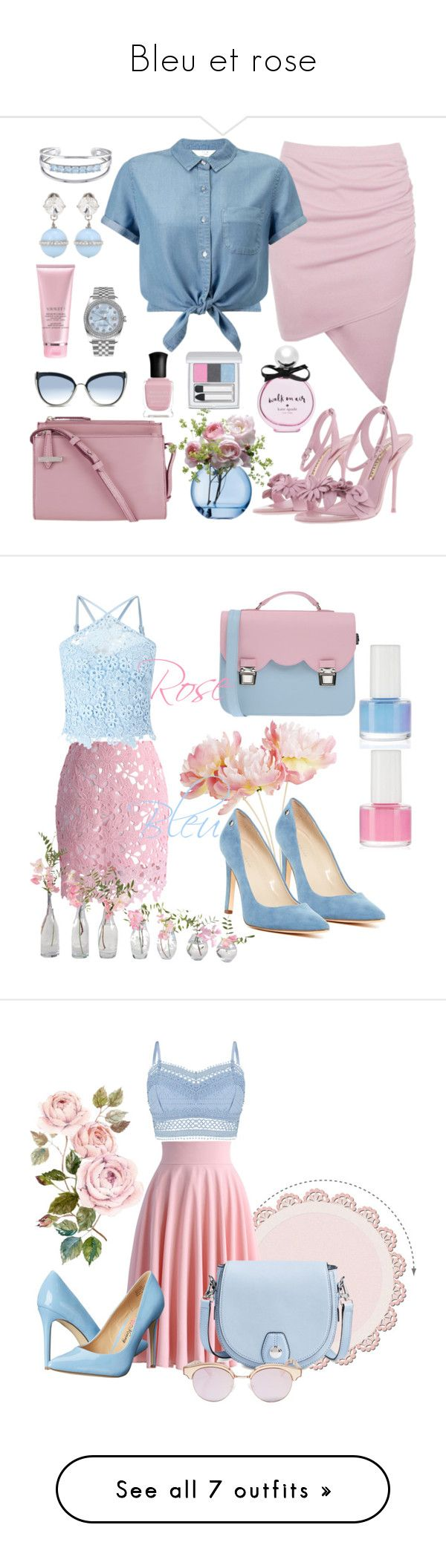 """""""Bleu et rose"""" by marthecha ❤ liked on Polyvore featuring Lodis, Boohoo, Karl Lagerfeld, Miu Miu, Rolex, By Terry, Kate Spade, Sophia Webster, Catherine Malandrino and LSA International"""