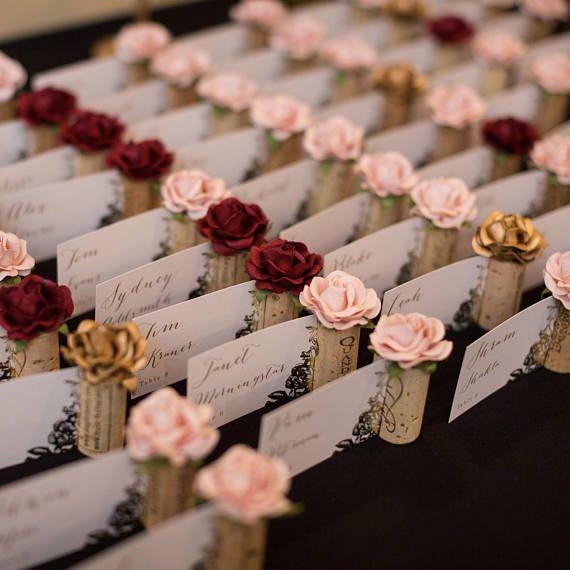 Wijnmakerij Bruiloft Plaats Kaarthouder | Wijngaard bruiloft Decor | Bloos de Roze Kaarthouder van de Naam van het Huwelijk | Wijn thema bruids douche | Zitplaatsen kaarten