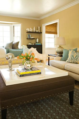 yellow living rooms bright room paint color ideas chalk furniture colorful tables brown decorating