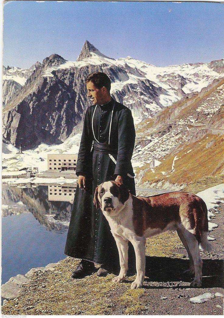 Great Saint Bernard Pass - Monk with his Dog (1972), Great St Bernard Pass (Grosser Sankt Bernhard) - Switzerland - Postcard - 29813