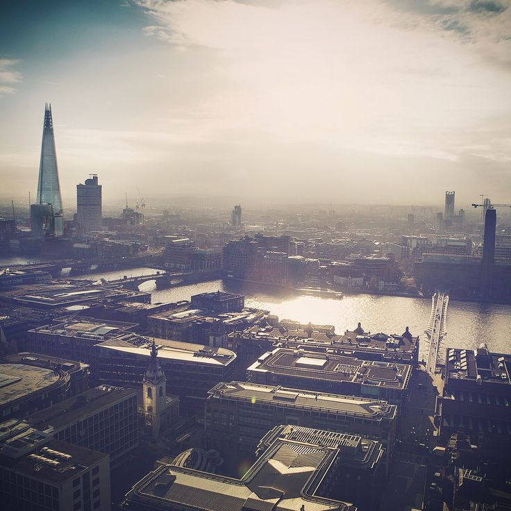 Morning sun over #London - a view of the South Bank from the Shard to Tate Modern