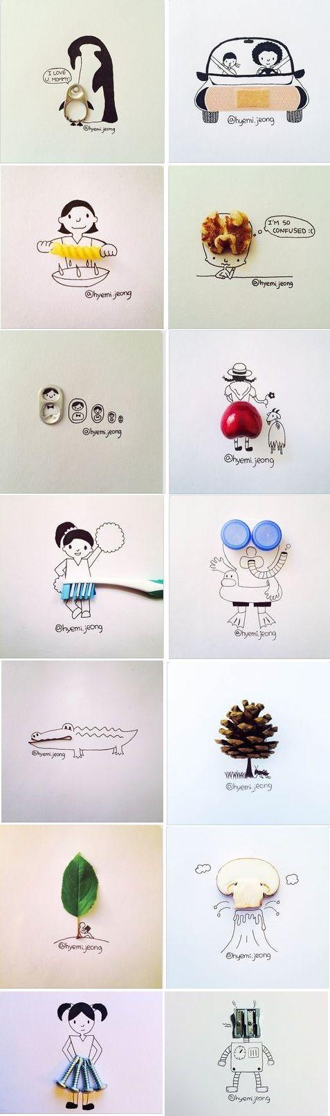 donnez à vous enfants 2 bouchons de bouteille, 1 pansement, des vis, 1 trombone, 1 cerise, 1 noix, 1 pomme de pin, des anneaux de canette etc... et laissez-les imaginer le dessin autour ! Inspirez vous de la créativité de Hyemi Jeong!