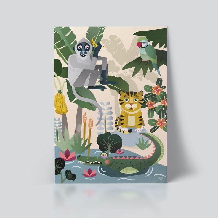 Jungeldyr plakat til barnerommet designet av Ohoi Studio
