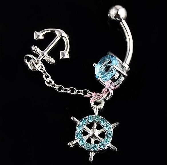 Ship Wheel Anchor Dangle Gem Belly Button Navel Rings Body Piercing Jewelry. $9.99, via Etsy.