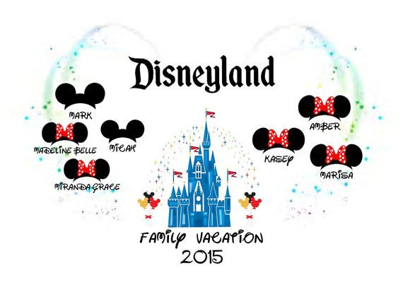 Disneyland 'Family Vacation 2015/2016' PERSONALISED T-Shirt Transfer