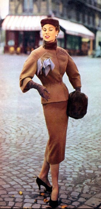 Jacques Fath, 1953 vintage fashion style designer couture color photo print ad model magazine brown suit jacket skirt wool nipped waist peplum hat scarf shoes muff street 50s