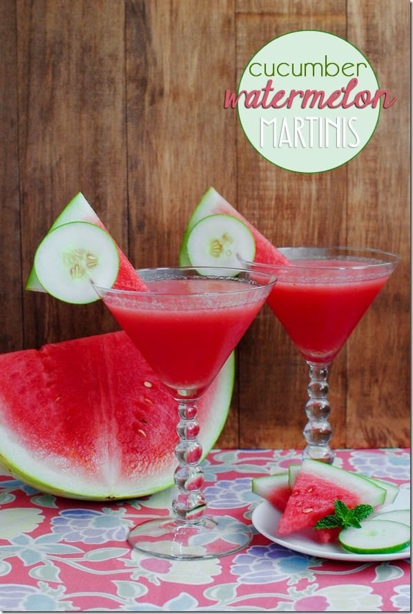Cucumber Watermelon Martini. Sweet, cold, frothy and refreshing! #cocktail