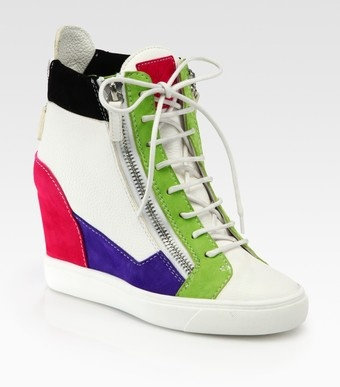 Giuseppe Zanotti Colorblock Leather Suede Wedge Sneakers - Lyst