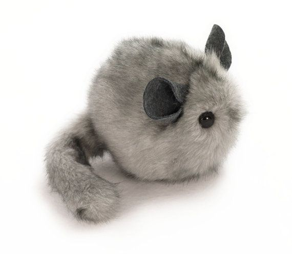 I want to snuggle it under my chin and squeeze it! Light Grey Chinchilla Stuffed Animal Plush Toy - 4x5 Inches Small Size