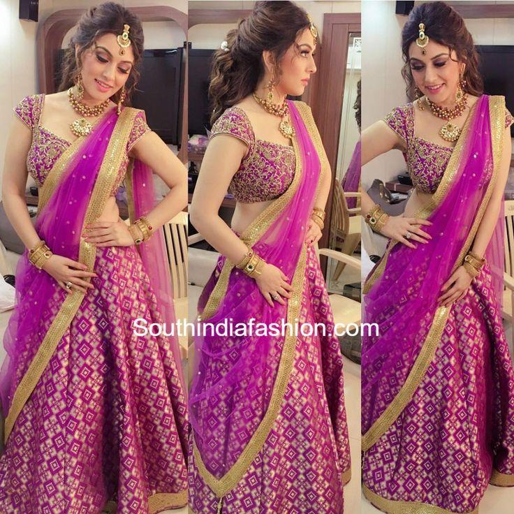 Pink half saree, Actress Hansika
