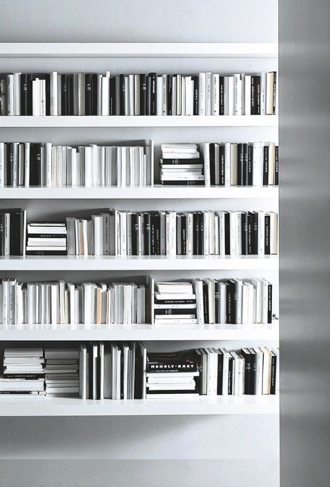 Shelves full of monochromatic books, interior, storage