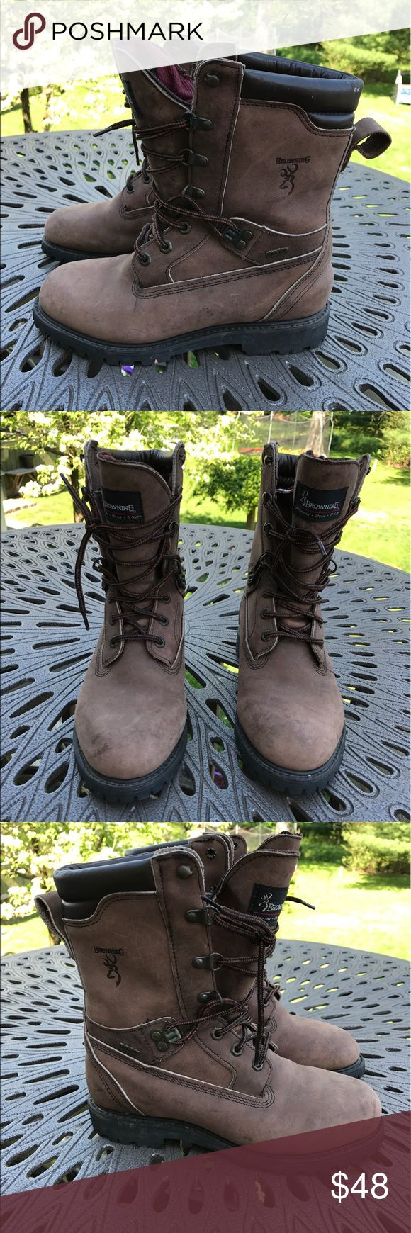 Women's Browning work hiking insulated boots sz. 8 Women's brown browning tall boots size 8  Boots are pre-owned, light wearing- soles are in excellent shape with lots of life left.  Boots are insulated! browning  Shoes Combat & Moto Boots