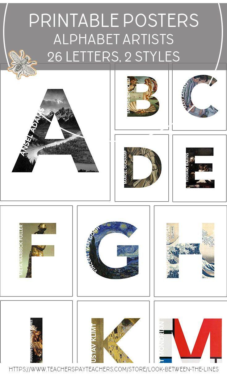 Artist Alphabet Letters In 2021 Lettering Alphabet Visual Art Teacher Visual Art Lessons