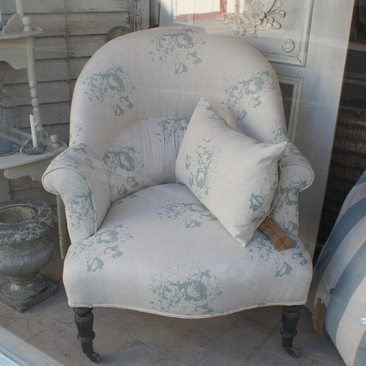 Chair & cushion covered in Natural Blue Hatley by Cabbages and Roses <3