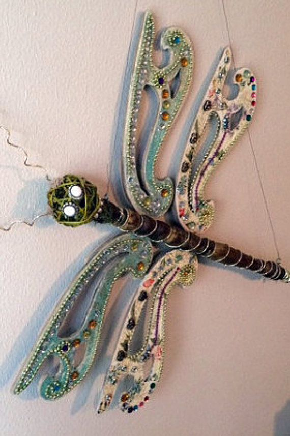 Dragonfly Yard Art from Repurposed Items  One of a Kind