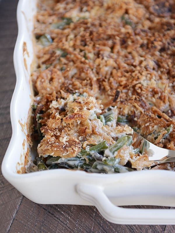 Homemade Green Bean Casserole with Extra Crunchy Topping via @melskitchencafe