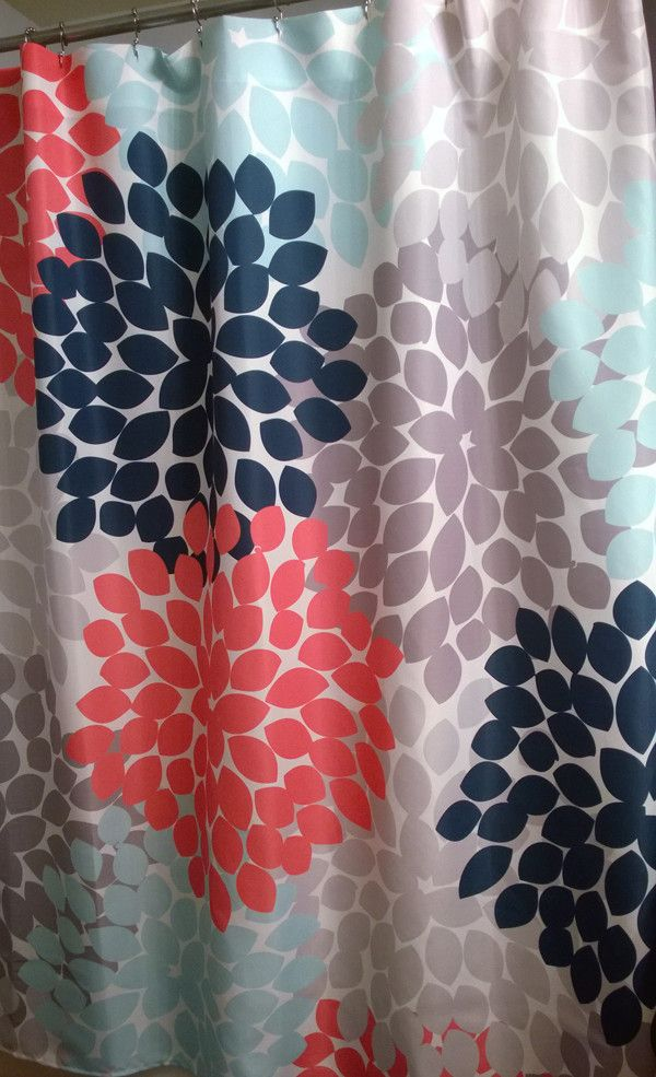 dahlia floral shower curtain in navy coral aqua gray
