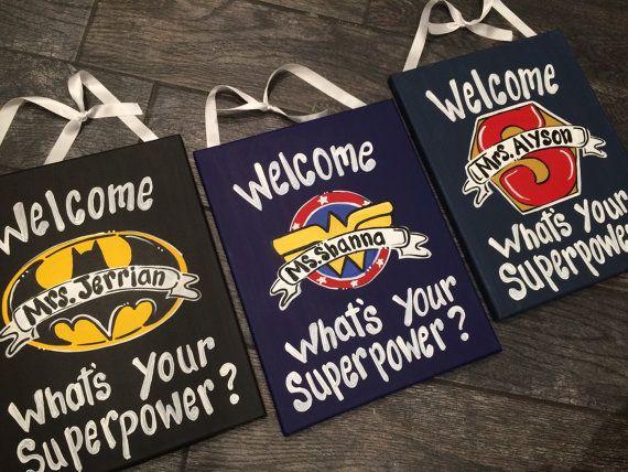 LOVE!!!  Superhero Teacher door sign  Super Hero Door Sign by MelanieLupien - Etsy