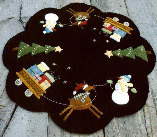 Santa's Helpers wool applique table topper