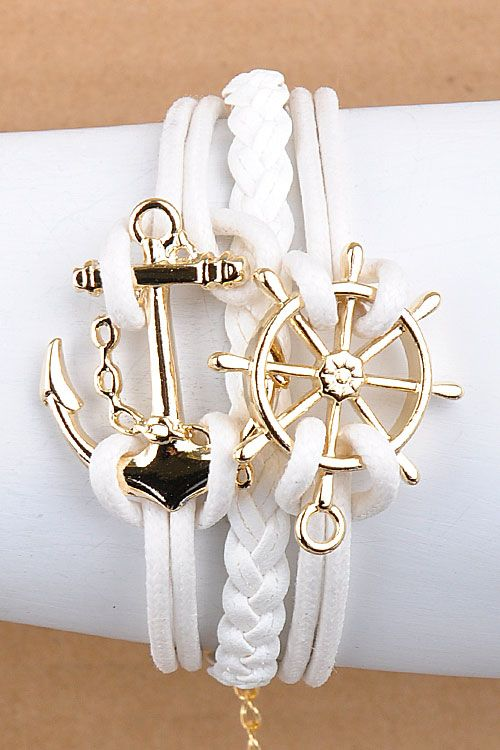 white nautical anchor bracelet♥✤ | Keep the Glamour | BeStayBeautiful